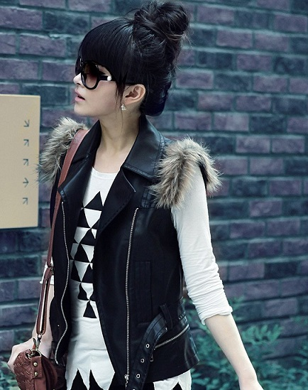 Autumn Black Leather Vest For Women