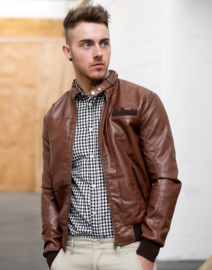 Brown Faux  Mens Vintage Motorcycle Leather Jacket