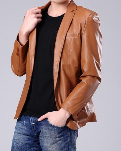 Brown Slim Leather Blazer For Men