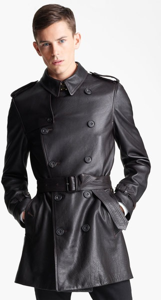 Burberry Mens Leather Trench Coat