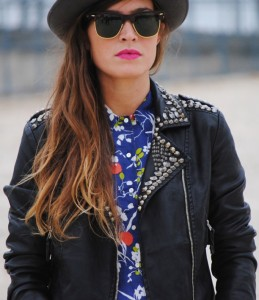 Classic studded leather jacket for women