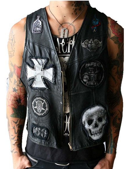 Cool Custom Leather Vests For Men Poison Pill