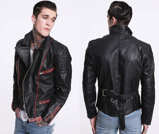 Cool Vintage Leather Biker Jacket For Men