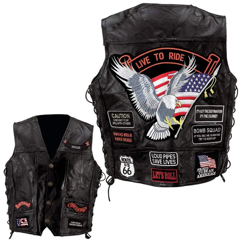Diamond Plate Rock Biker Leather Vest