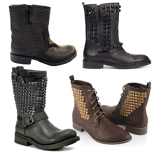 Fashion Studded Biker Boots For Your Studded Leather Jacket