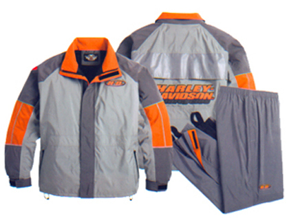 Gray Orange Harley Davidson Motorcycle Rain Gear