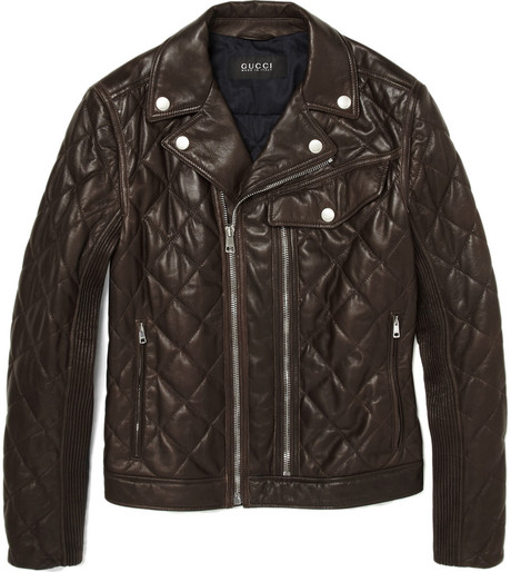 Gucci Brown Leather Biker Jacket