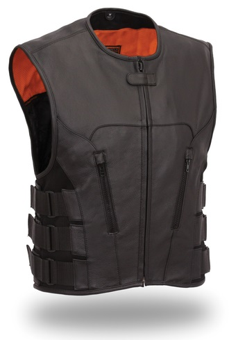 Hanteiz  Leather Motorcycle Vest For Men