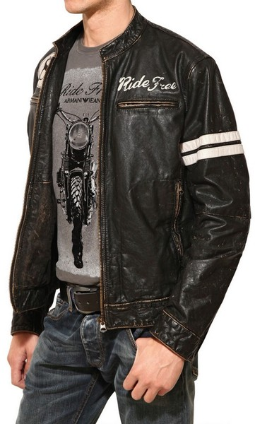 Hot Armani Vintage Leather Biker Jackets For Men
