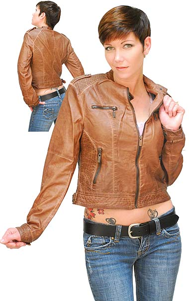 Ladies Cafe Racer Motorcycle Jacket