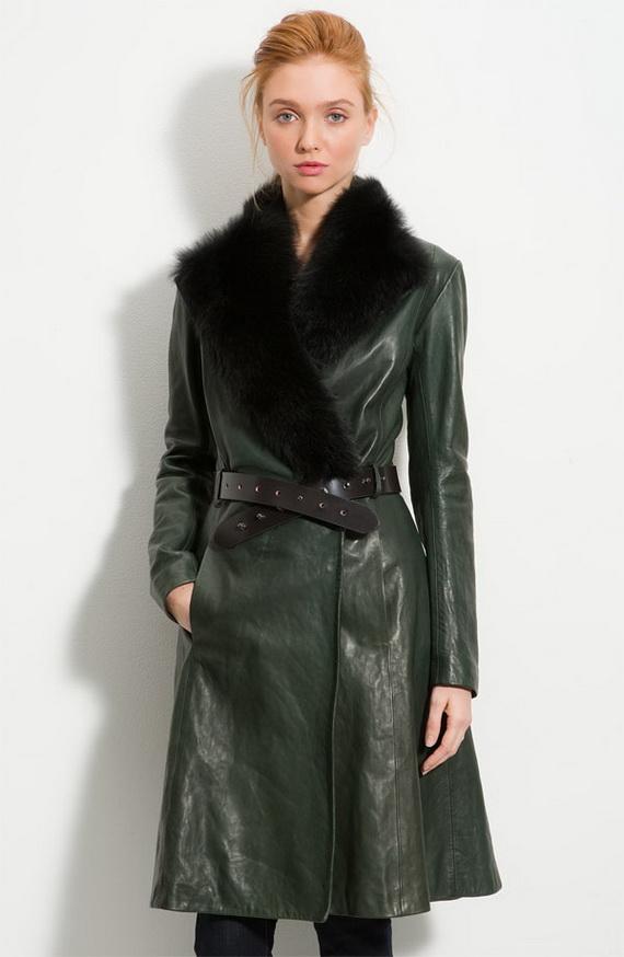 Long Leather Plus Size Coats