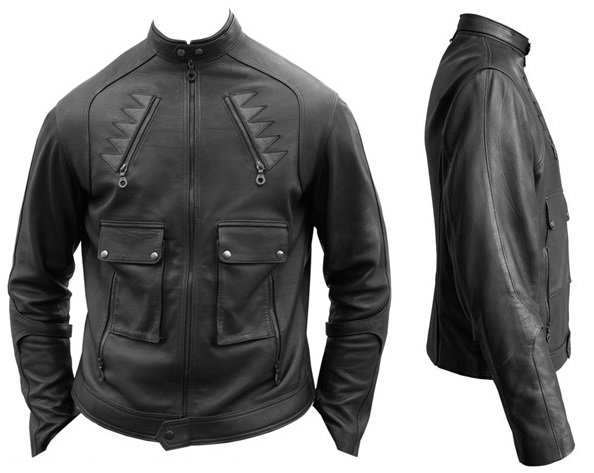Mens Knit Moto Jacket Black