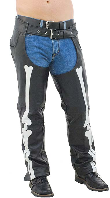 Mesn Leather Chaps With Skeleton Bones Art