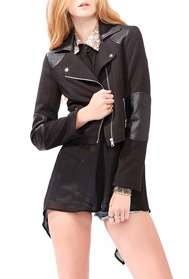 Sexy Faux Leather Moto Jacket For Women