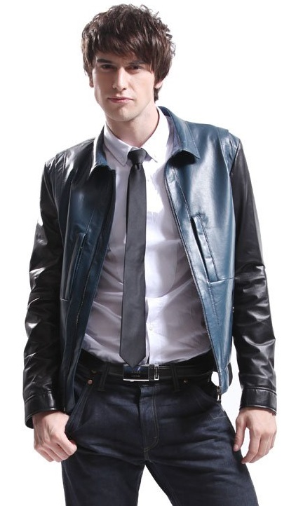 Sheepskin Leather Coats For Men Black