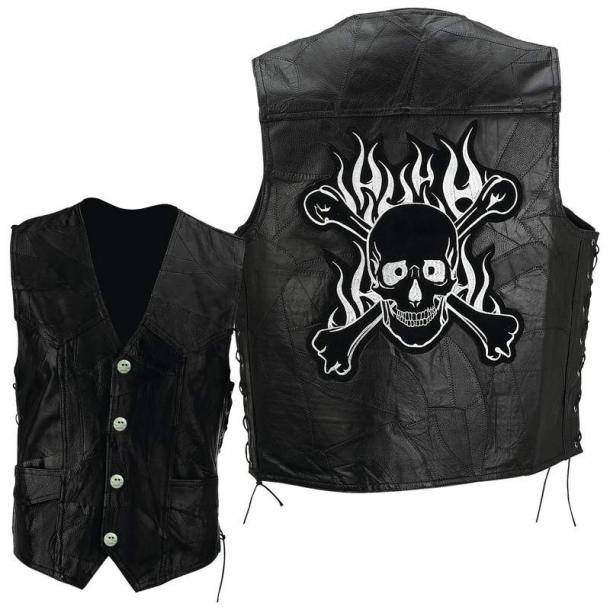 Skull Black Motorcycle Leather Vests For Men
