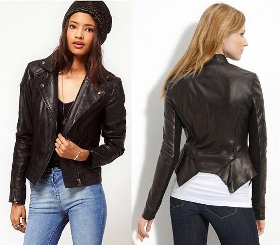Stylish Vintage Leather Motorcycle Jacket For Women