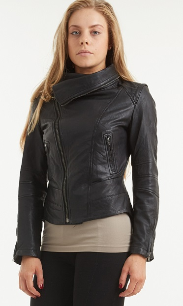 Womens Zip Neck Black Leather Biker Jacket Siena