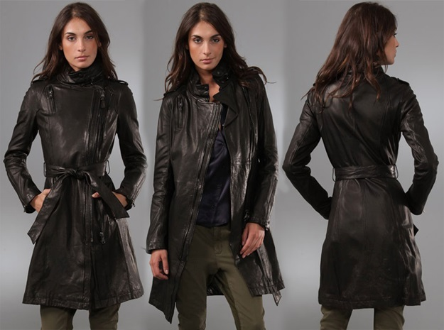 Womens Black Leather Trench Coat
