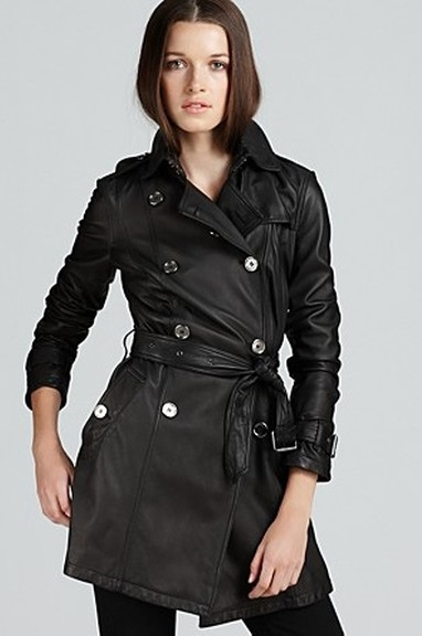 Womens Burberry Black Leather Trench Coat