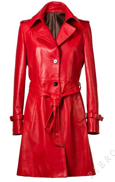 Womens Long Leather Trench Coat Red