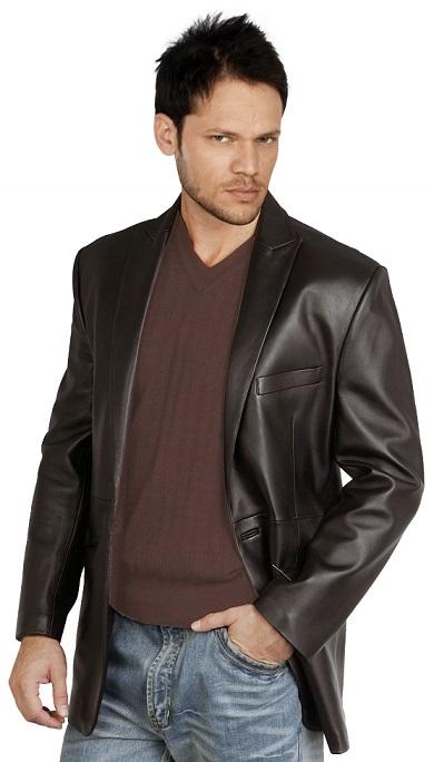 XL Black Mens Leather Blazer
