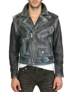 fashion mens studded leather jacket wear